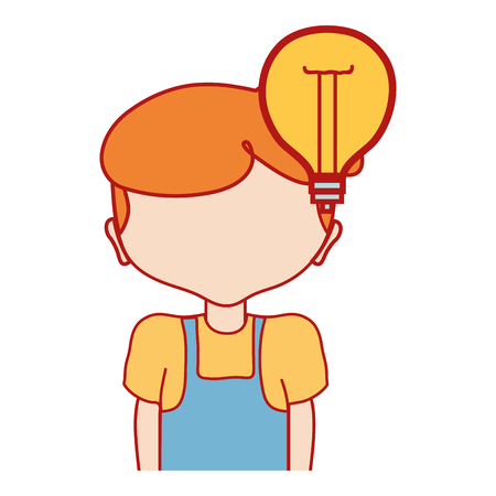 boy with bulb idea and hairstyle design