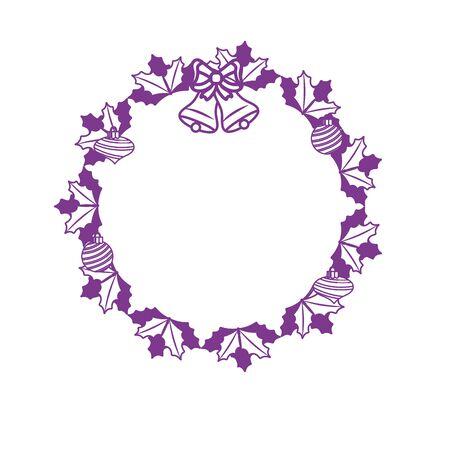 silhouette christmas wreath garland with christmas design