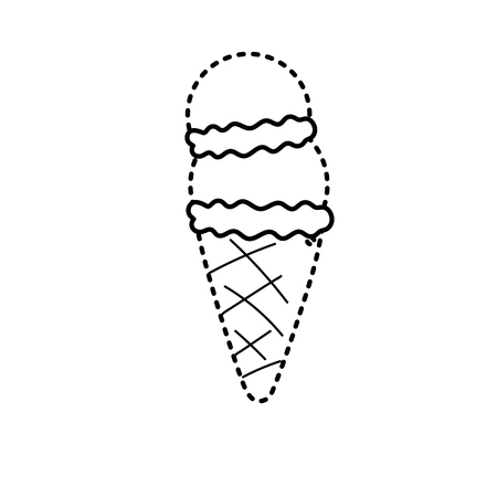 点線の形状おいしいアイスクリーム甘いデザート  イラスト・ベクター素材