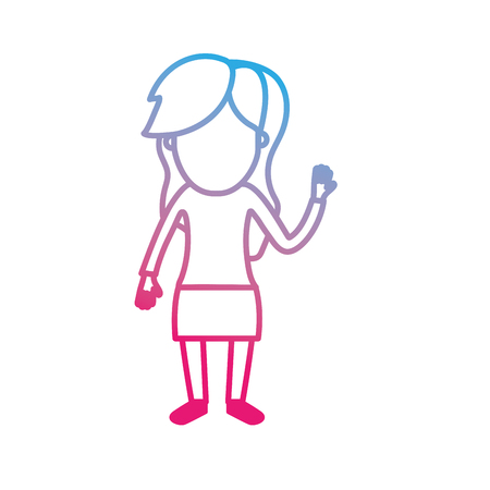 line woman with hairstyle design and clothes