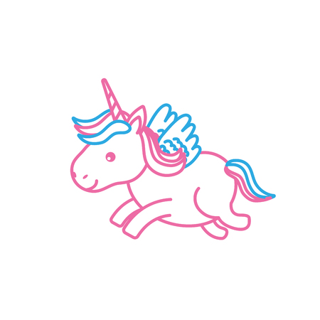 line cute unicorn with horn and wings design Illustration