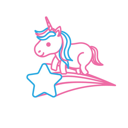 Nice unicorn with horn and shooting star Illustration