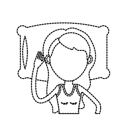 bedroom design: dotted shape woman with hairstyle desing sleeping