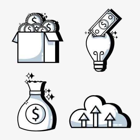 Set crowd funding business money financing. Illustration