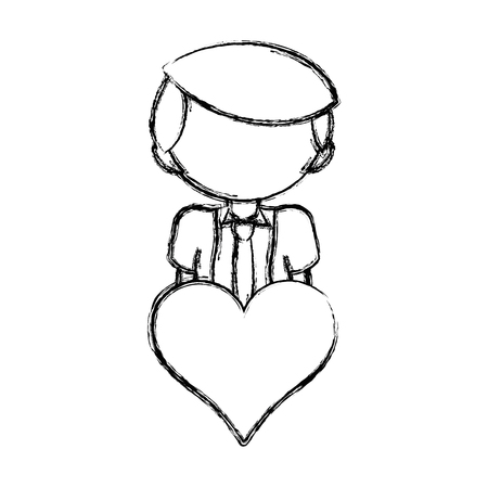 figure boy with hairstyle and heart icon