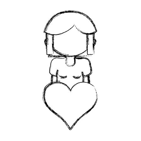 Figuur meisje met kapsel pictogram en hart pictogram Stockfoto - 85618079