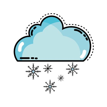 windy day: cute cloud with snow and cold weather Illustration