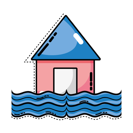 house flood to the water disaster weather Illustration