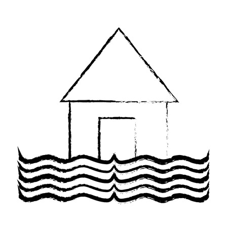 figure house flood to the water disaster weather vector illustration
