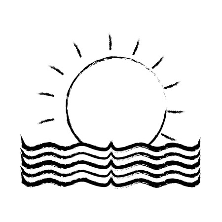 figure sun with water flood natural disaster vector illustration