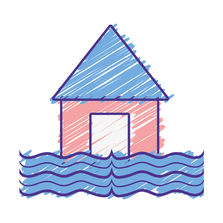 house flood to the water disaster weather vector illustration Illustration