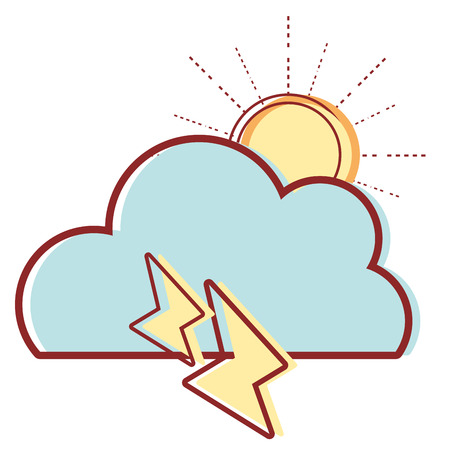 cute cloud with sun and thunder weather vector illustration Illustration
