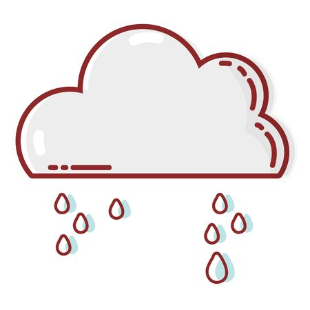 cute cloud with raining and cold weather vector illustration Illustration