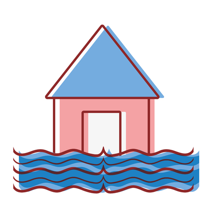 house flood to the water disaster weather vector illustration Ilustração