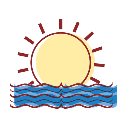 sun with water flood natural disaster vector illustration Illustration