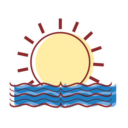 sun with water flood natural disaster vector illustration Ilustração
