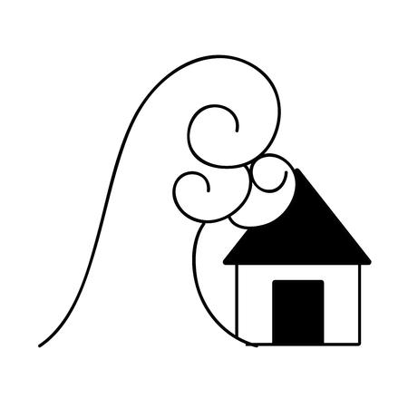 contour house flood to the water disaster weather vector illustration Ilustração