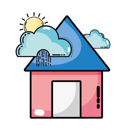 house with clouds raining and sun tropical weather vector illustration Illustration