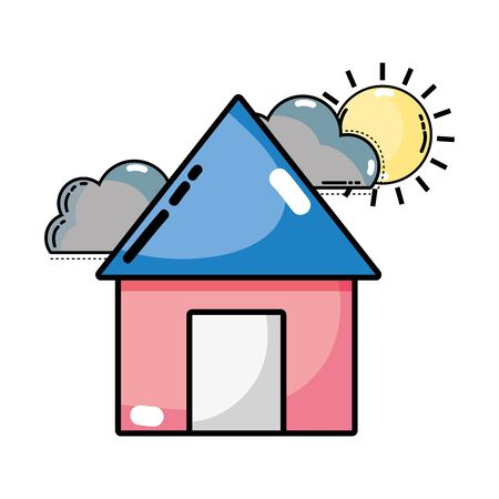house with clouds and sun natural weather vector illustration