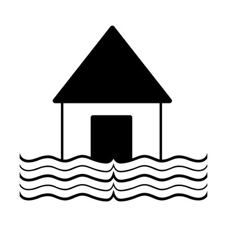 contour house flood to the water disaster weather vector illustration Ilustração
