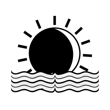 contour sun with water flood natural disaster vector illustration