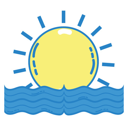 sun with water flood natural disaster vector illustration Ilustração