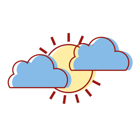 clouds with tropical sun natural weather vector illustration Illustration