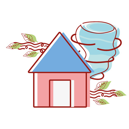house with twister and wind leaves natural weather vector illustration