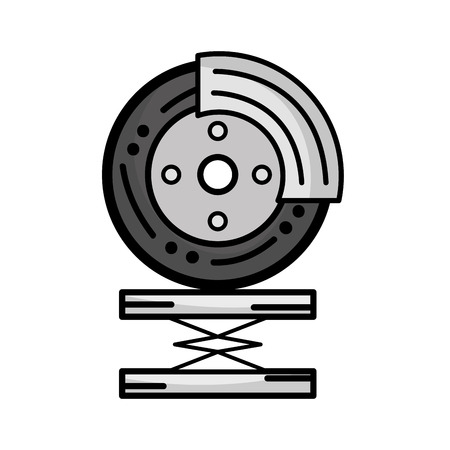 automotive industry: grayscale tire car service to mechanical repair vector illustration