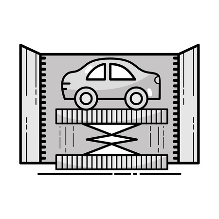 automotive industry: grayscale technology car service to mechanical repair vector illustration Illustration