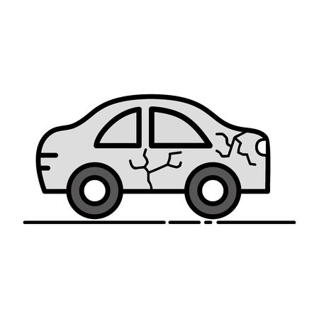 car crash in the road for accident disaster vector illustration Illustration