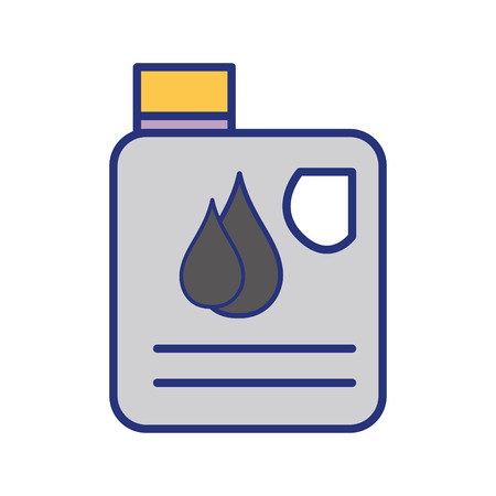 car isolated: gasoline bottle with drops to car industrial vector illustration