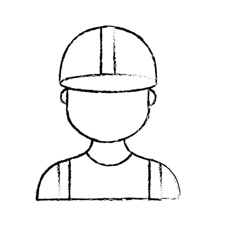 figure profesional man worker with cap and clothes vector illustration