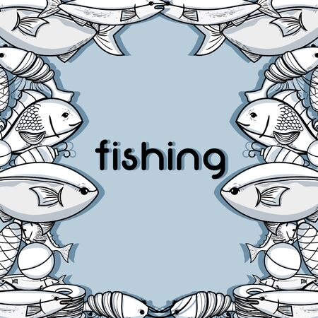 fishing funny sport to catch sea food background vector illustration Illustration