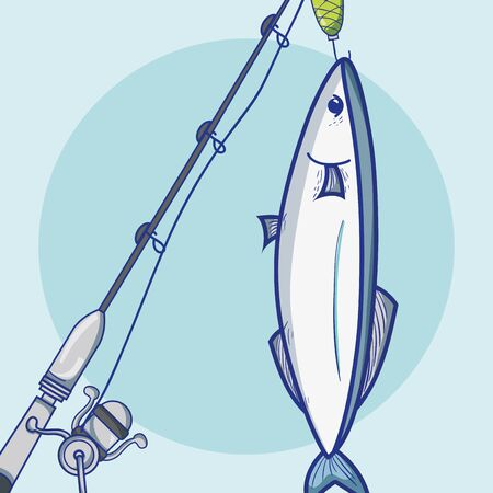 fishing rod with hook and nylon to catch seafood vector illustration