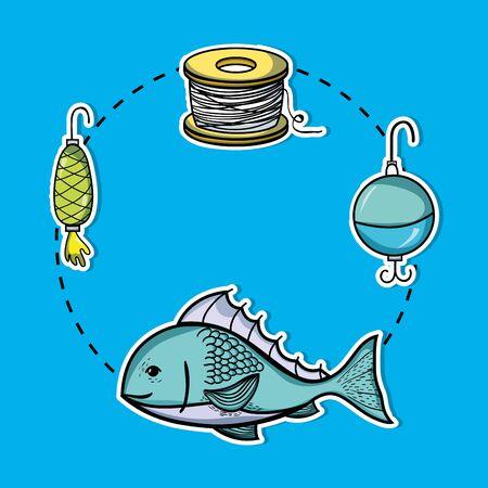 特別なツールで釣りレクリエーションを設定するベクトルイラスト