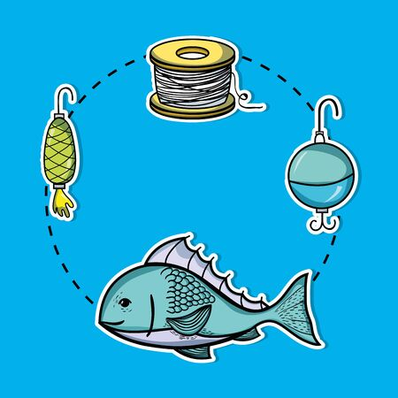set fishing recreation with special tools vector illustration Stock Vector - 85691352