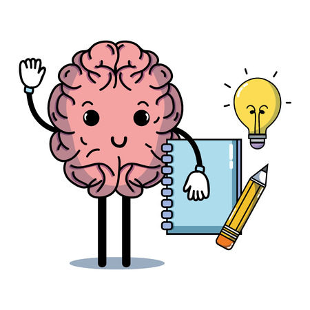 set kawaii brain with knowledge education vector illustration