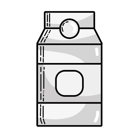 grayscale delicious milk box product to nutrient vector illustration Illustration