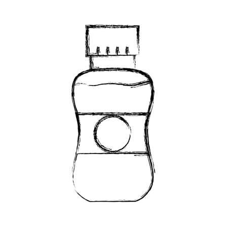 figure delicious and fresh bottle juice beverage vector illustration Illustration