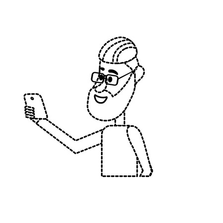 smartphone: dotted shape nice man with hairstyle and smartphone in the hand Illustration