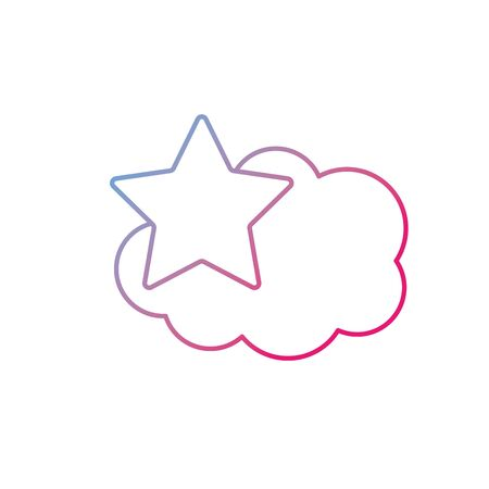 windy day: line cute cloud and star weather design icon Illustration