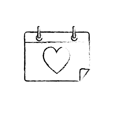 numbers abstract: figure calendar with heart to romantic special day Illustration