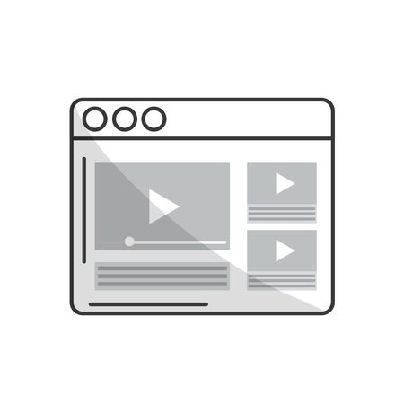 web browser: line website with important videos information Illustration