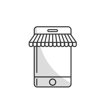 mobile device: line technology smartphone to business information Illustration