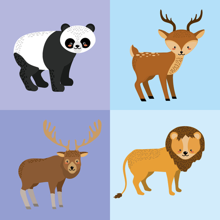 cuteness: set cute animal and natural wildlife