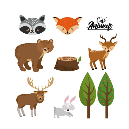 cuteness: set cute wild animal with natural trees