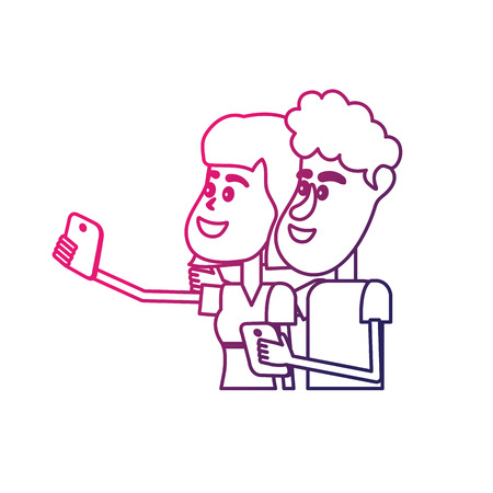 smartphone: line beauty couple with hairstyle and smartphone in the hand Illustration