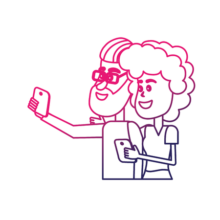 line beauty couple with hairstyle and smartphone in the hand Illustration