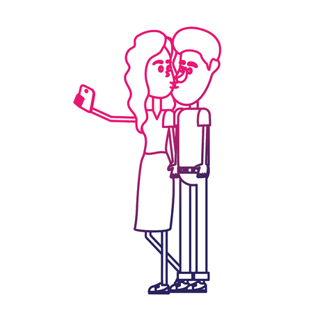 smartphone: line couple kissing and taking selfie with smartphone vector illustration Illustration